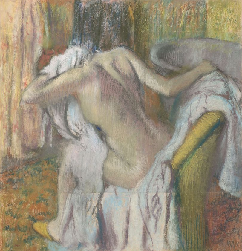 Hilaire-Germain-Edgar Degas  After the Bath, Woman drying herself  about 1890-5  Pastel on paper  103.5 x 98.5 cm  © The National Gallery, London