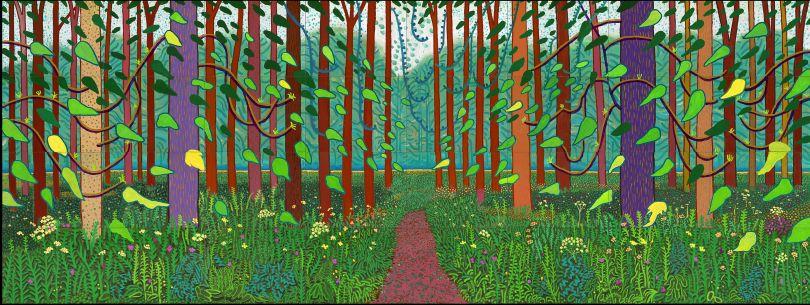 David Hockney: The Arrival of Spring in Woldgate, East Yorkshire (2011) © David Hockney, Photo Credit: Richard Schmidt, Collection Société des Amis du Musée national d'Art moderne, Centre Georges Pompidou, Paris.
