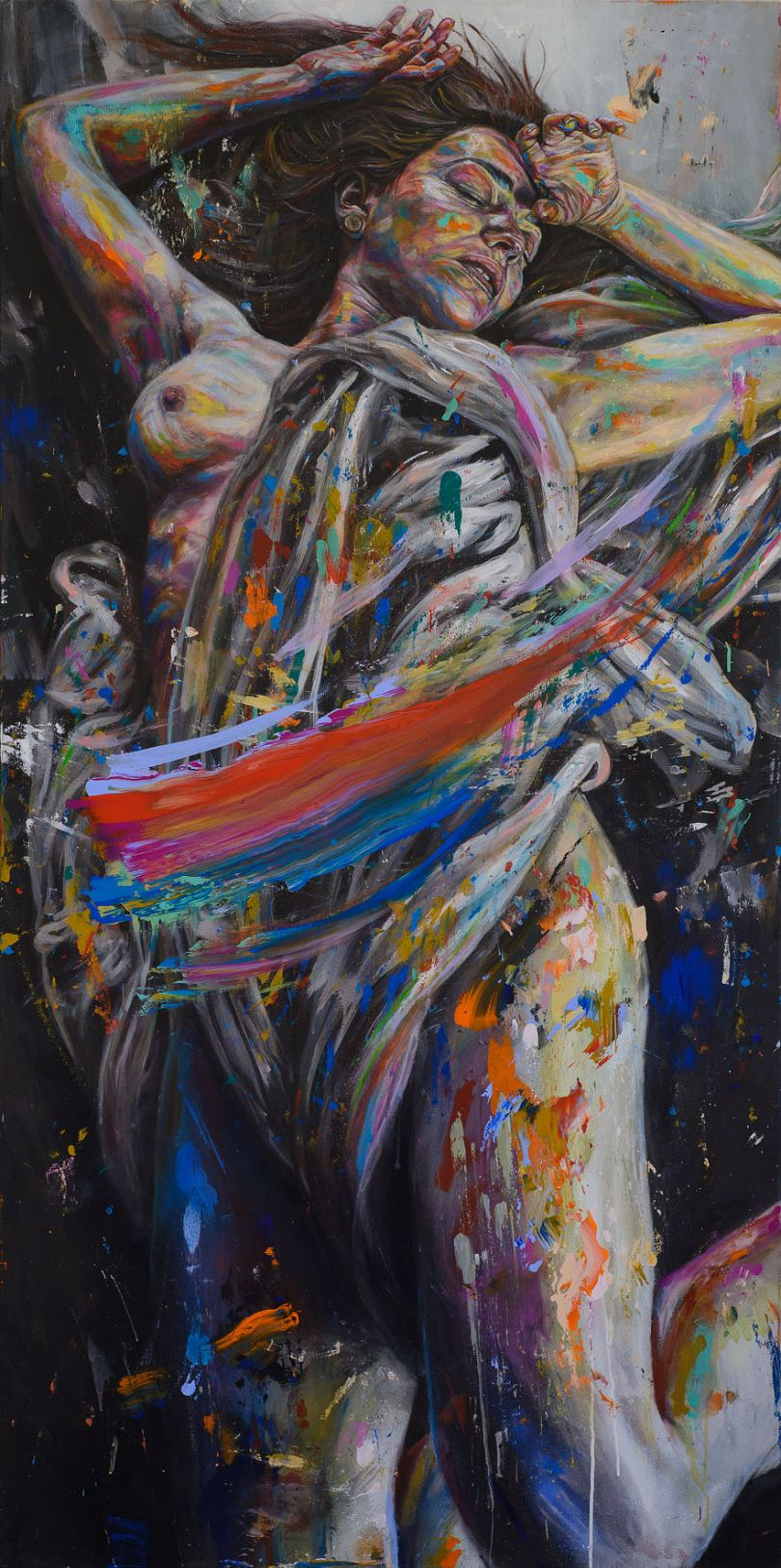'Yesterday's Snow' acrylic and spray paint on canvas 100cm x 200cm