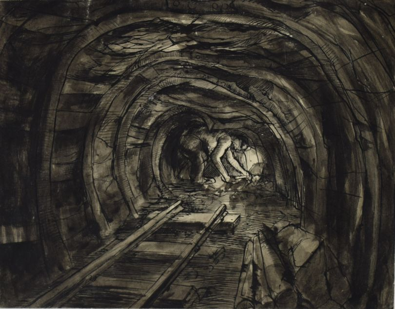 David McClure. Tunnel End with Miner. 1947. Pen and ink on paper. 207.5mm x 265mm. Photograph: Richard Hawkes. Copyright: The David McClure Estate. Courtesy of The Auckland Project.