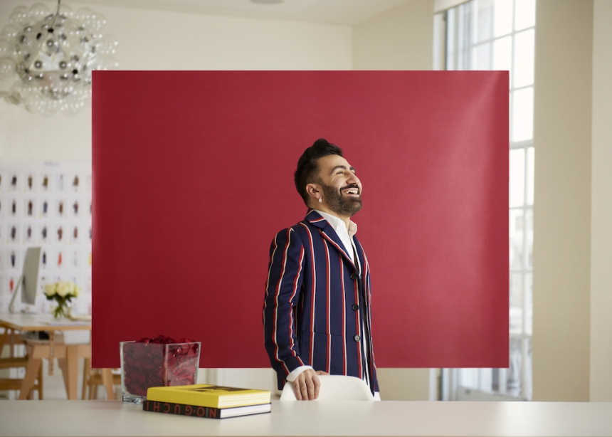 Mulberry creative director Johnny Coca. Favourite colour - Red. Photography by Toby Coulson