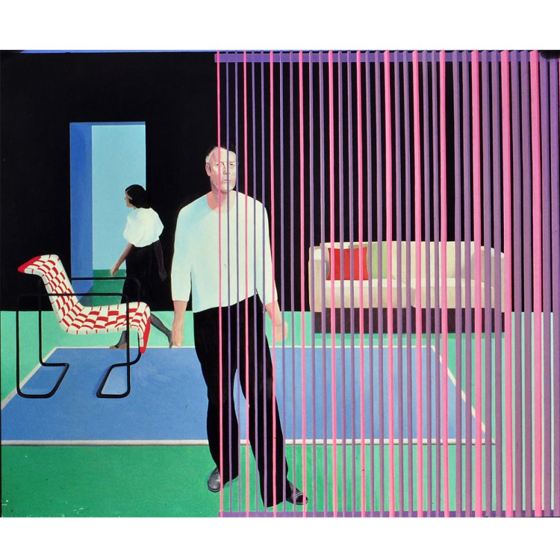 Neil Stokoe, Two Figures Retical Blind Red Chair, 1983