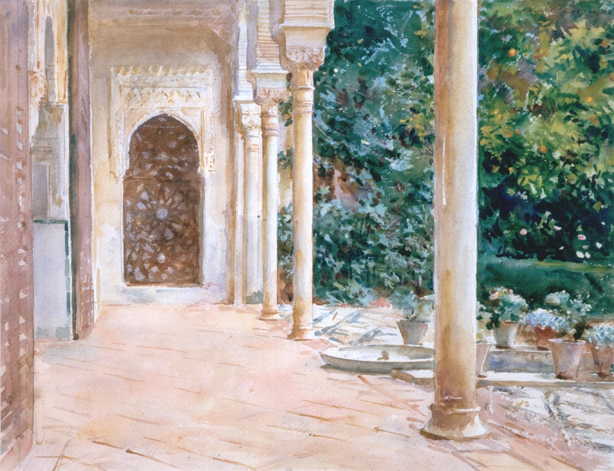 John Singer Sargent, Loggia, View at the Generalife, c. 1912, watercolour on paper, over preliminary pencil, 39.4 x 53.2 cm, Aberdeen Art Gallery & Museums Collections. Purchased in 1927, half the auction price met by Sir James Murray