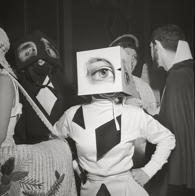 """Stanley Kubrick, a partygoer wearing a Cubist headdress, from the 1949 article titled """"Philadelphia's First Beaux Arts Ball"""". Copyright: © SK Film Archives/Museum of the City of New York"""
