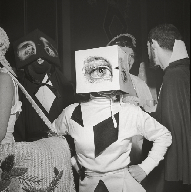 "Stanley Kubrick, a partygoer wearing a Cubist headdress, from the 1949 article titled ""Philadelphia's First Beaux Arts Ball"". Copyright: © SK Film Archives/Museum of the City of New York"