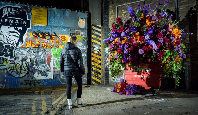 Botanical Banksy: Incredible floral art made from 12,000 fresh flowers in just six hours