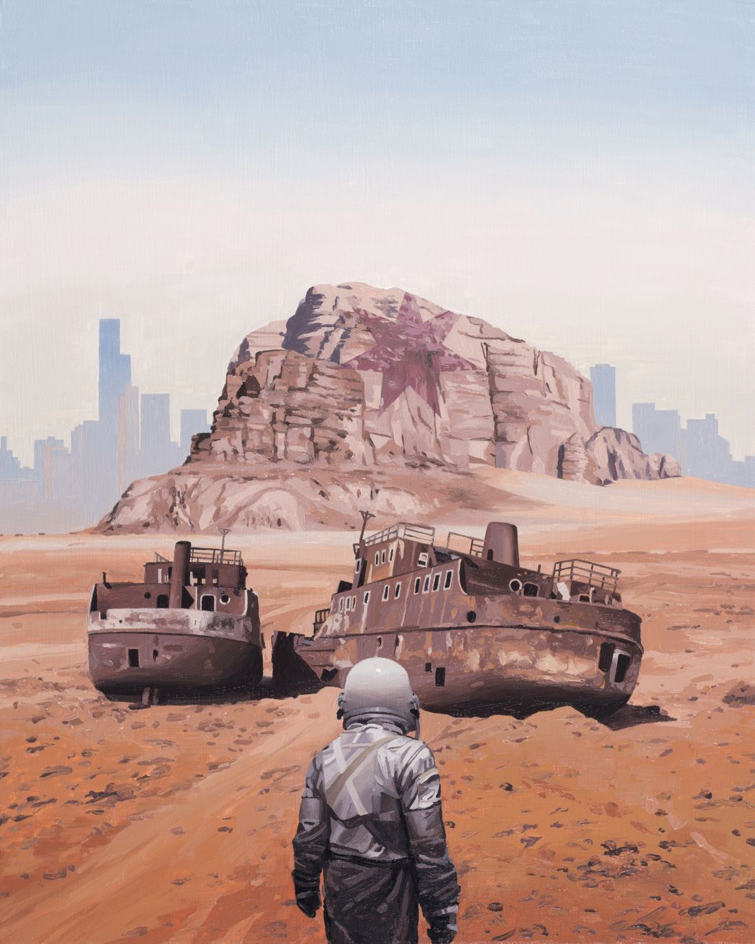 Scott Listfield's new 'Mad Max' inspired paintings of an astronaut exploring an apocalyptic Australia