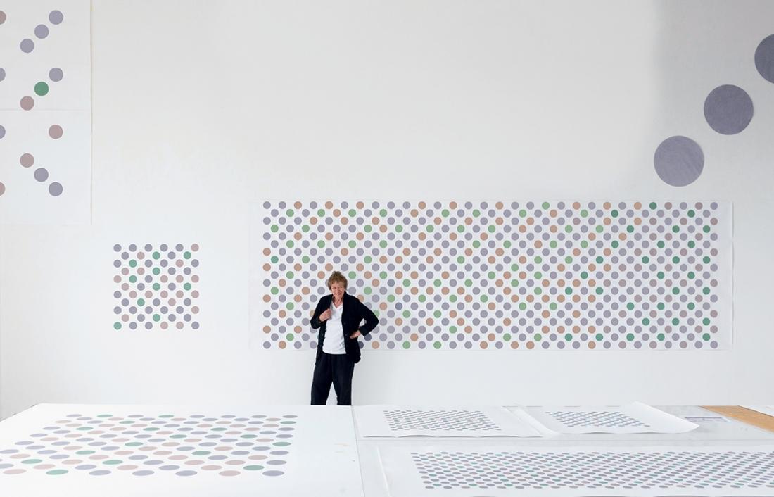 Riley in her studio, Courtesy David Zwirner, New York/London
