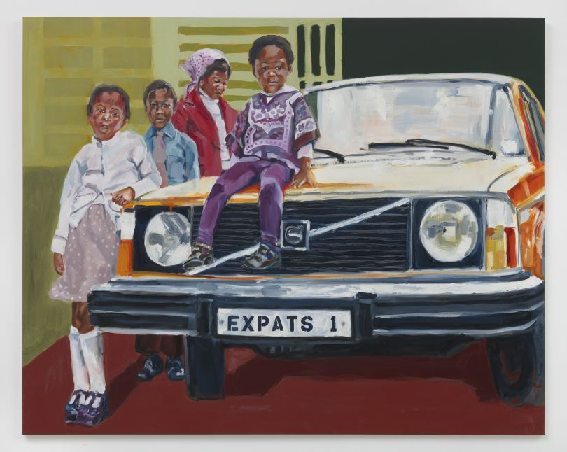Wangari Mathenge The Expats, 2019 Oil on canvas 56 × 70 in (142.2 × 177.8 cm) Courtesy of the artist and Roberts Projects, Los Angeles, CA