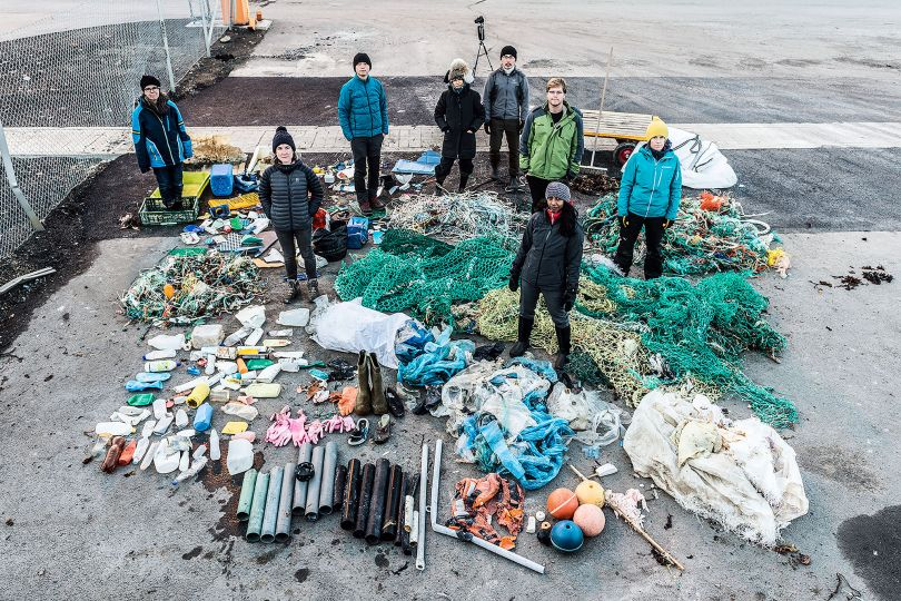Beach clean - Timelapse film and installation with collected marine plastic debris frozen in filtered Arctic seawater and an atmospheric deposition sample bottle containing filtered Arctic seawater. Filmed in Longyearbyen, Svalbard on 17 October 2017