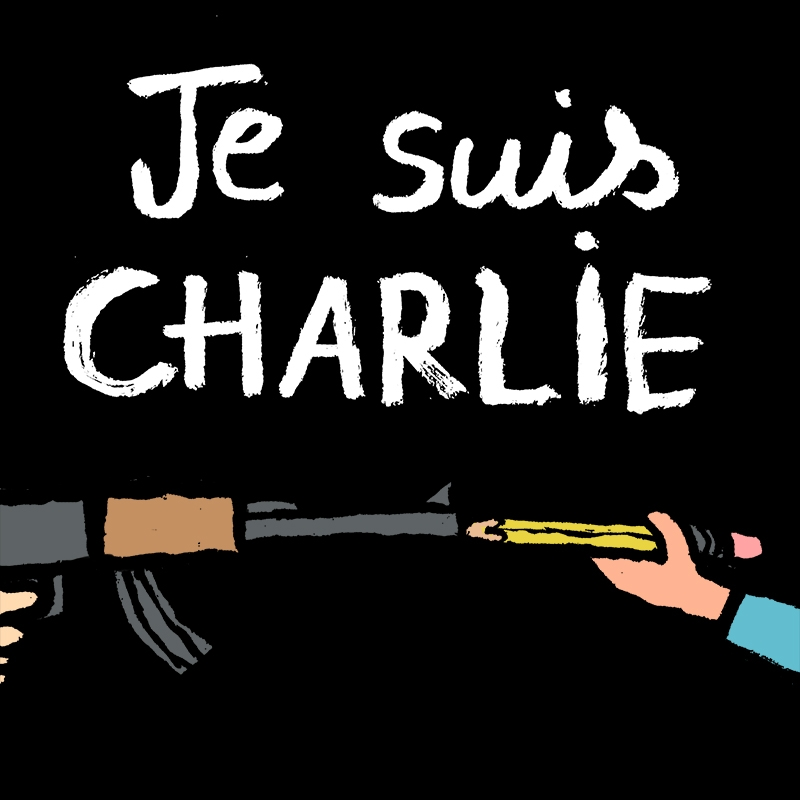 One of Jullien's #JeSuisCharlie illustrations, tweeted on January 7 in response to the attacks at the Paris satirical magazine.
