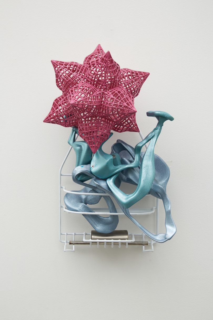 Frank Stella, Scarlatti K series: Puffed Net Star (Smoke 1), 2014, painted RPT with metal, 53 x 31 x 28 cm. Picture credit: artwork © Frank Stella (page 95)