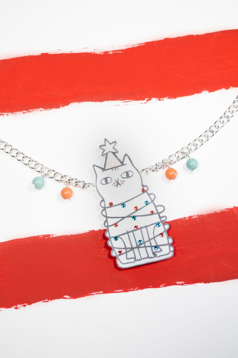 Festive Cat necklace © Gemma Correll X Tatty Devine