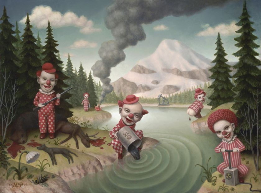 Paintings of frightful clowns by Marion Peck urge us to face up to climate change