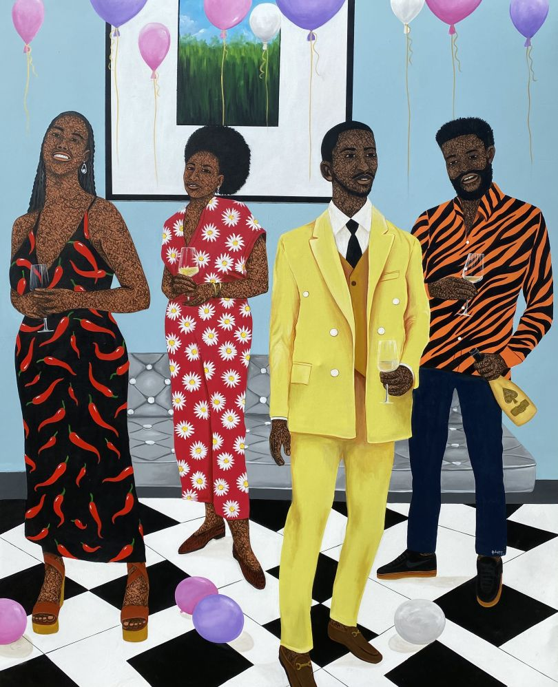 Hamid Nii Nortey, Togetherness is the beginning of progress towards success, 2021. Acrylic on canvas. Courtesy of the artist and of ADA contemporary art gallery