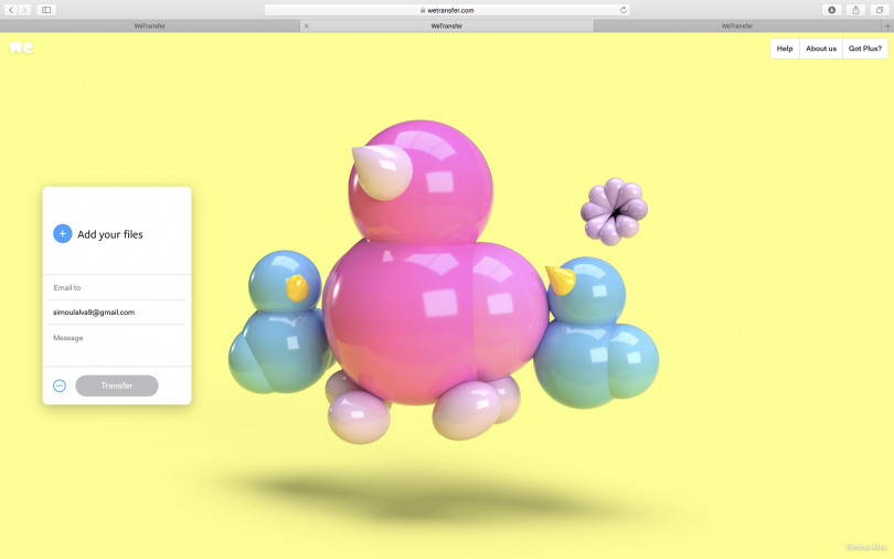 Simoul Alva, experiments in 3D, as presented on WeTransfer