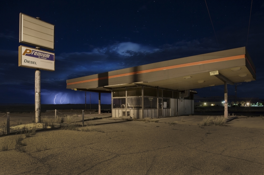 Locals seemed remarkably unfazed by a huge lightning storm yet it yielded some beautiful sky-based visuals while giving the perfect setting to photograph this derelict gas station.