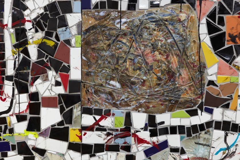 Rashid Johnson Broken Crowd (detail) 2020 Ceramic tile, mirror tile, spray enamel, oil stick, black soap, wax 294.6 x 491.5 x 7.6 cm Photo: Martin Parsekian