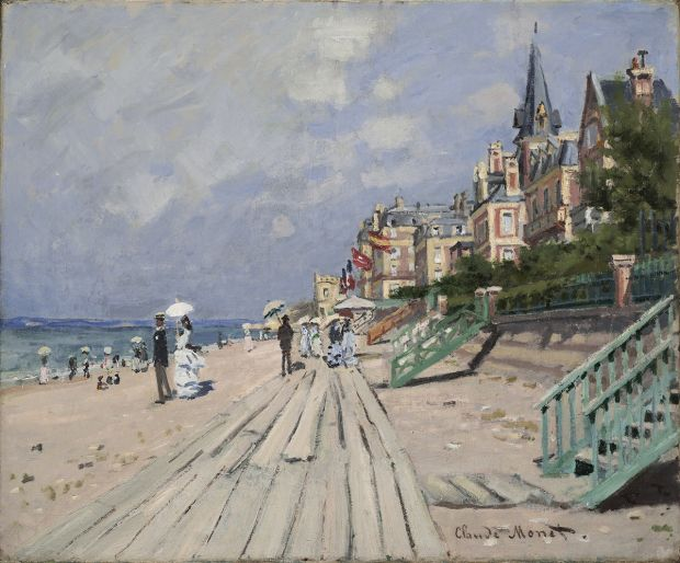 Claude Monet The Beach at Trouville (La Plage à Trouville), 1870 Oil on canvas 53.5 × 65 cm Wadsworth Atheneum Museum of Art, Hartford, Connecticut The Ella Gallup Sumner and Mary Catlin Sumner Collection Fund, 1948.116 © Allen Phillips\Wadsworth Atheneum
