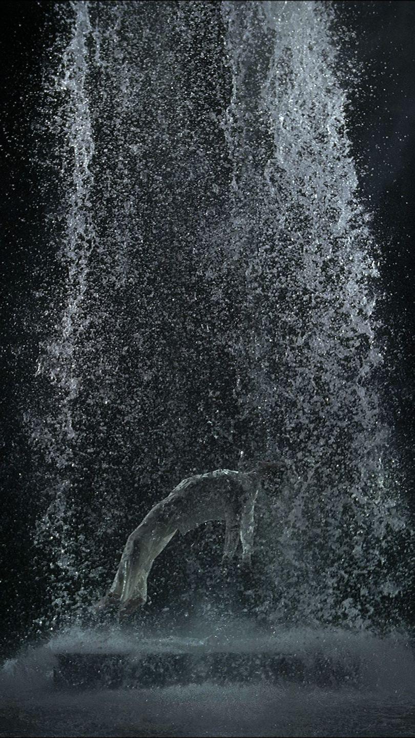 Tristan's Ascension (The Sound of a Mountain Under a Waterfall), 2005Video/sound installation10:16 minutesPerformer: John HayCourtesy Bill Viola Studio© Bill ViolaPhoto: Kira Perov