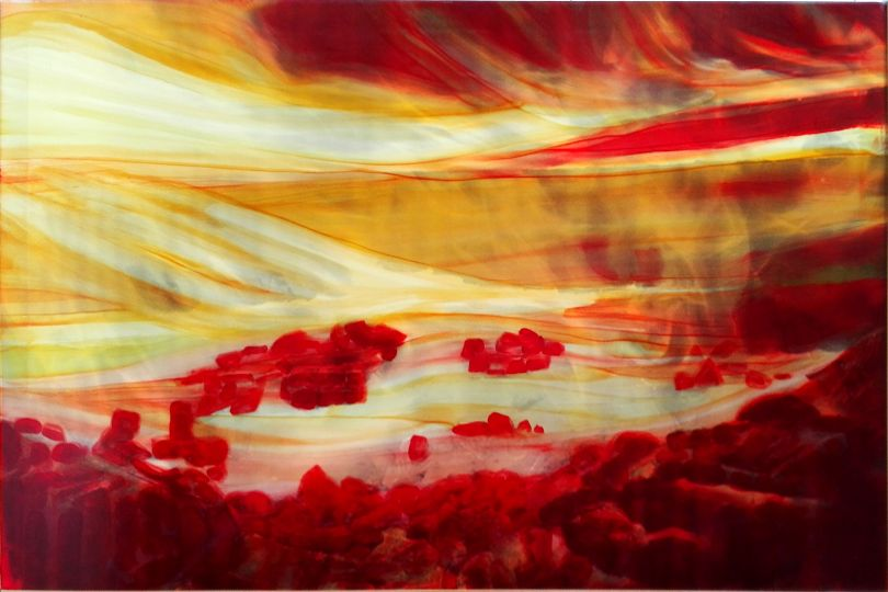 Salmo 10 in x-ray, 1999 Alcohol on pigmented canvas. 100 x 150 cm (39.4 x 59.1 in)