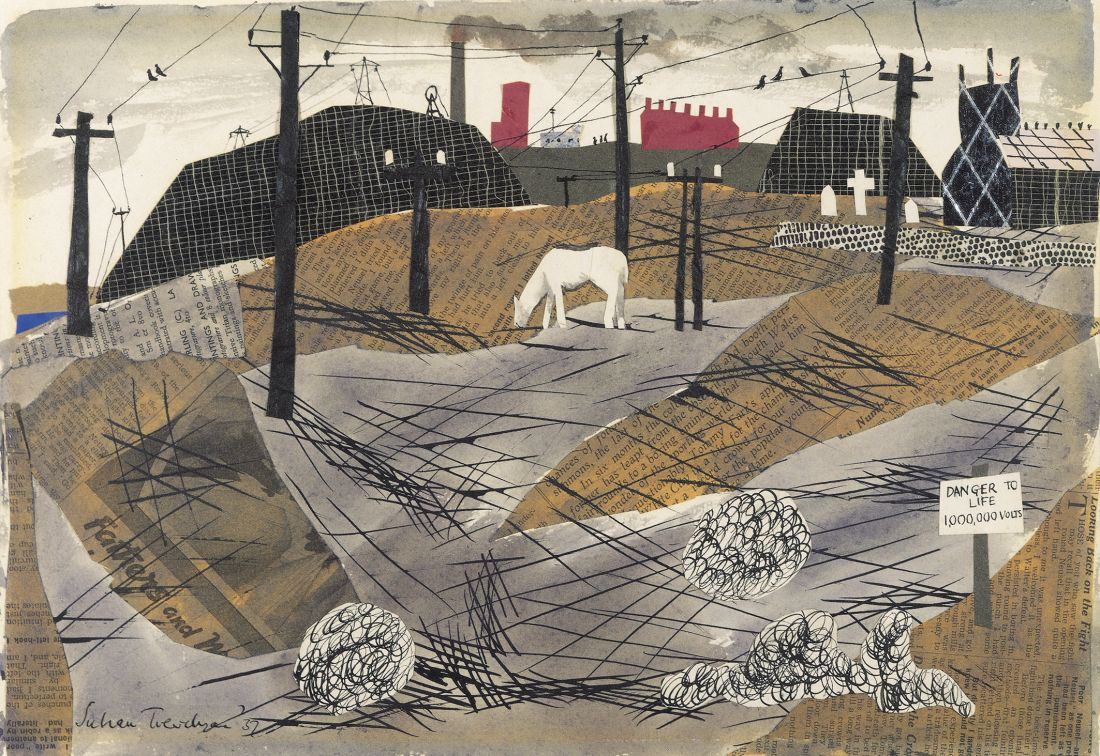 Julian Trevelyan, Bolton 1,000,000 volts, 1937, collage, 48.26 x 60.96, Private Collection © The Julian Trevelyan Estate