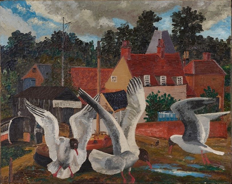 Pill Mill and Black Headed Gulls 1929, Babergh, Suffolk, England 251⁄2 x 32 in (64.8 x 81.2 cm) Oil on canvas ©Philip Mould & Company