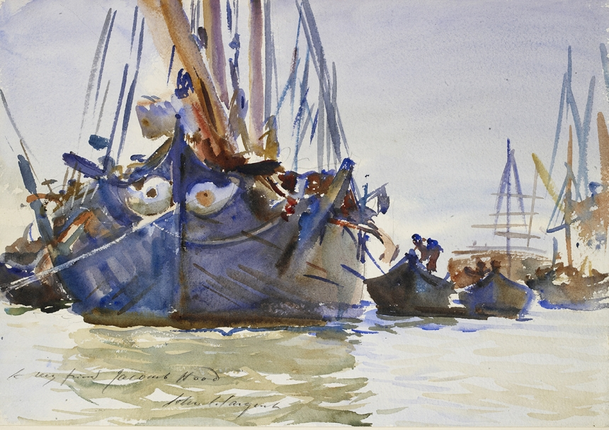 John Singer Sargent, Italian sailing Vessels at Anchor, c. 1904-07, watercolour on paper, over preliminary pencil, 35.2 x 50.3 cm, The Ashmolean Museum, Oxford. Presented by Miss K. de Hochpied Larpent, 1943. Image © Ashmolean Museum, University of Oxford