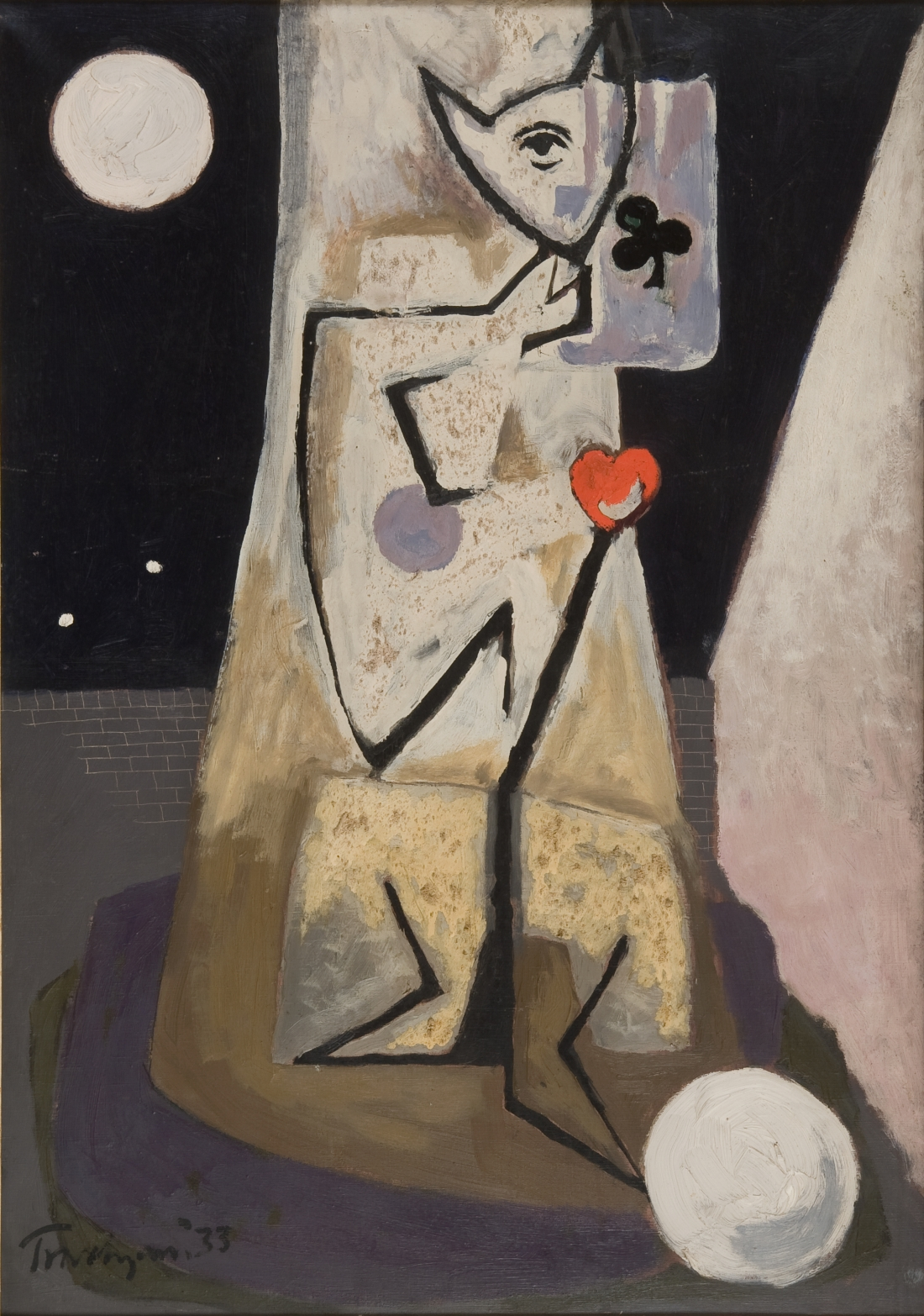 Julian Trevelyan, Standing Figure with Ace of Clubs, 1933, oil on canvas, Photograph Mike Fear, courtesy Jerwood Collection © The Julian Trevelyan Estate