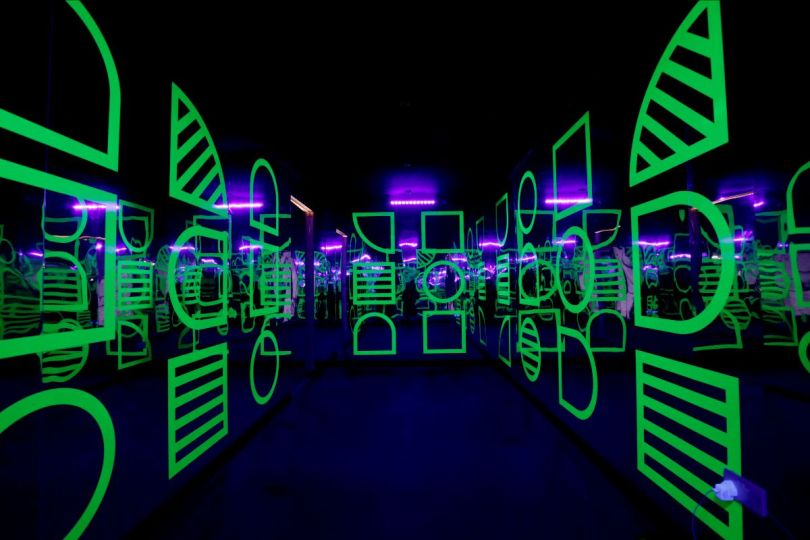 The disco room of Camille Walala's HOUSE OF DOTS installation for LEGO. Photo credit Getty Images.