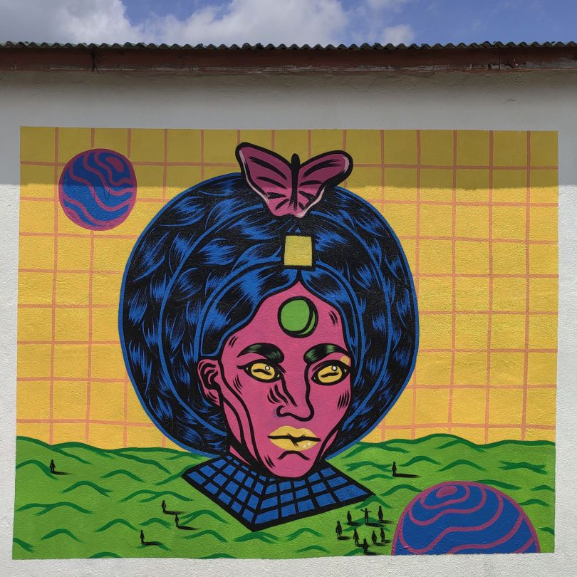 Mural made during the Museum Next Door residency at Jeju Island, South Korea © Osheen Siva