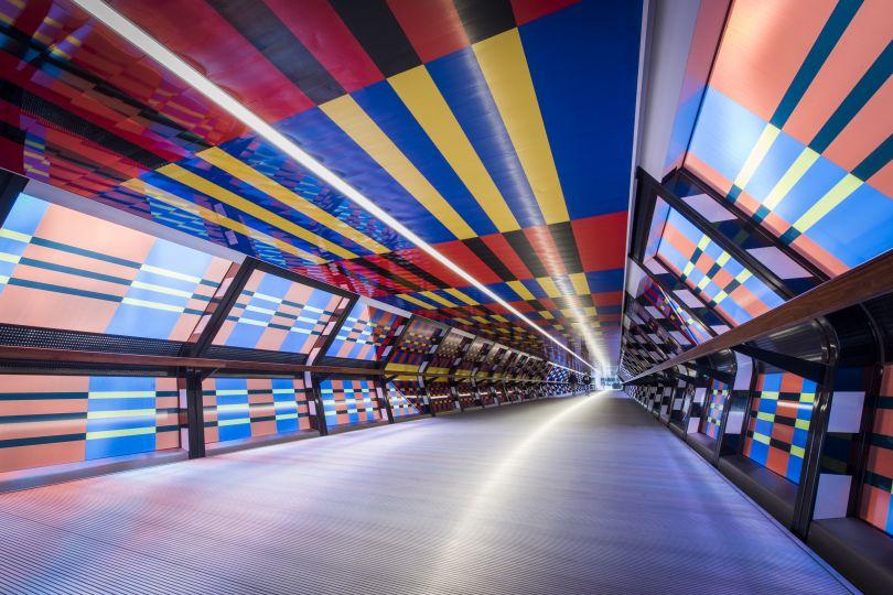 Camille Walala, London Mural Festival - Adams Plaza Bridge, Canary Wharf, E14 - Photo credit - Sean Pollock