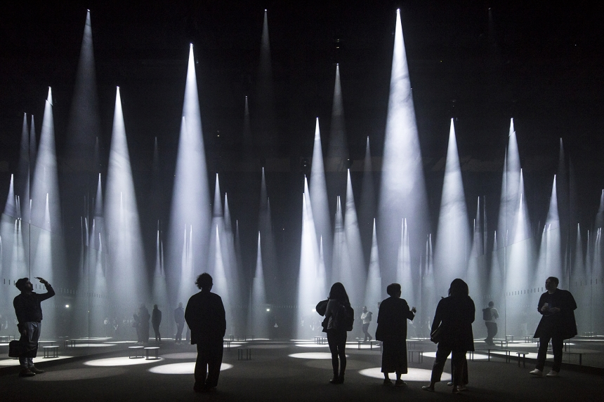 Photographer: Laurian Ghinitoiu 'Forest of Light' for COS, Salone del Mobile, Milan, Italy  Architect: Sou Fujimoto Architects