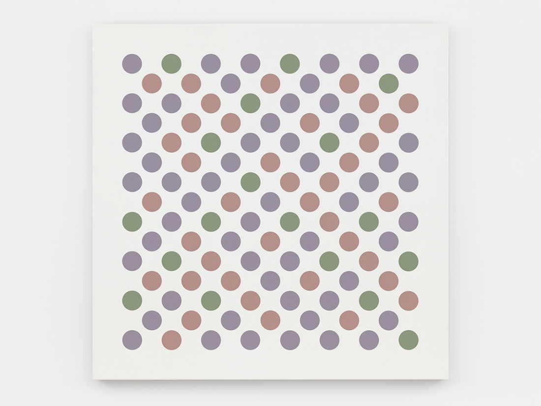 Bridget Riley Measure for Measure 2 2016 Acrylic on canvas 55 1/4 x 55 1/4 inches 140.5 x 140.5 cm © Bridget Riley 2017, all rights reserved. Courtesy David Zwirner, New York/London