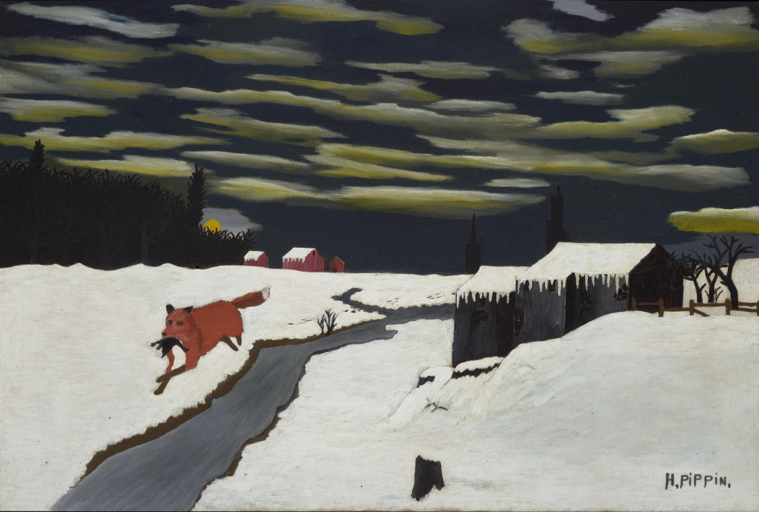 The Getaway, 1939, by Horace Pippin, American, 1888 - 1946. Oil on canvas, 24 5/8 x 36 inches. Philadelphia Museum of Art: Bequest of Daniel W. Dietrich II, 2016-3-3