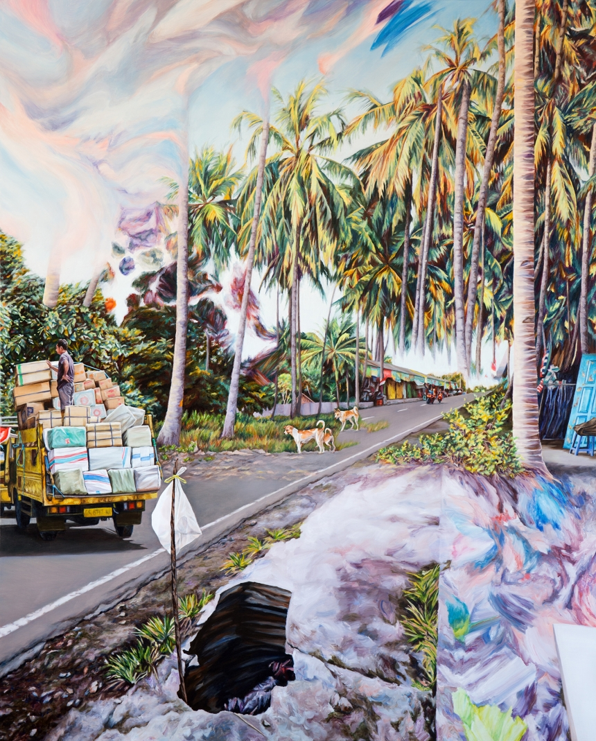 Kevin Chin, Hole in Paradise, 2017, oil on Italian linen, 183 x 147 cm