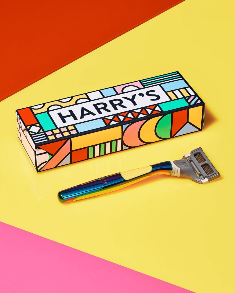 Zipeng Zhu's iconic type in a rainbow explosion for Harry's new shaving kit  for Pride 2021   Creative Boom