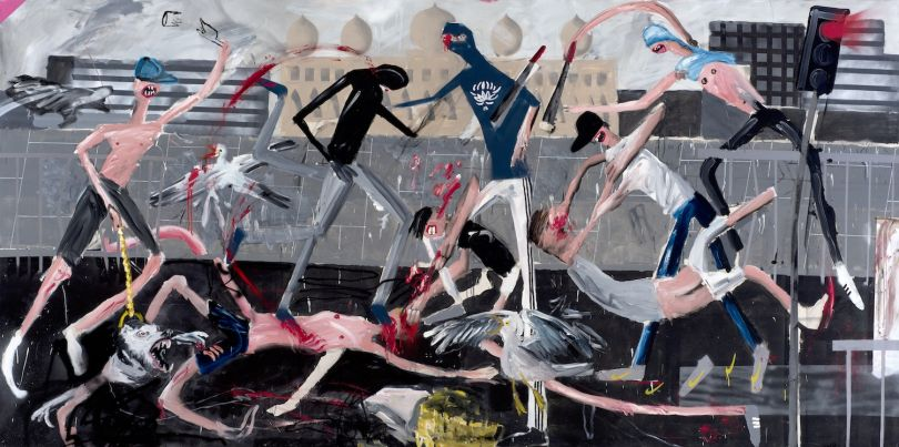 Dale Lewis Eurovision, 2015 Oil, acrylic and spray paint on canvas 200 x 400 cm © Dale Lewis, 2017 Image courtesy of the Saatchi Gallery, London