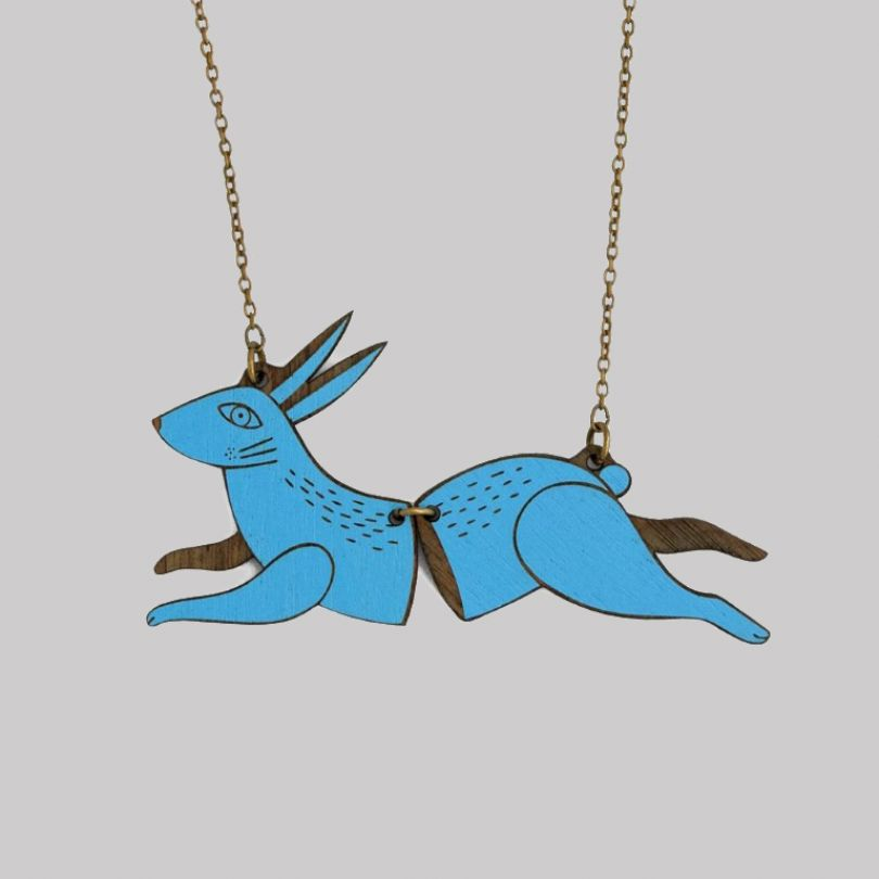 Leaping Hare necklace by Materia Rica, Barcelona