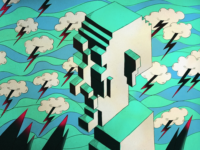 Bright editorial illustrations reminiscent of pixelated computer