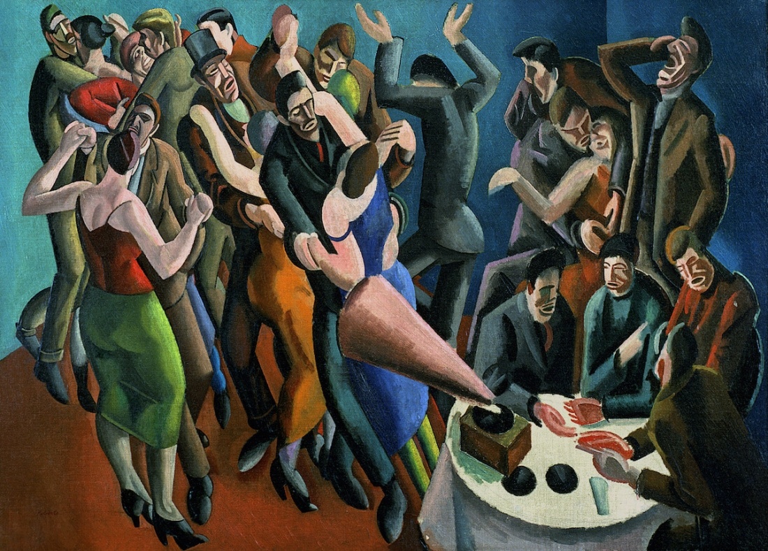 William Patrick Roberts The Dance Club (The Jazz Party) 1923 Oil on Canvas, 55.5 x 76cm, Leeds Museum and Art Gallery © Estate of John David Roberts. By permission of the Treasury Solicitor, courtesy of Bridgeman Images
