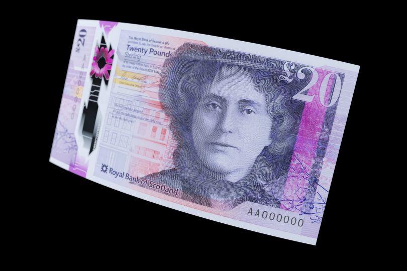 Royal Bank of Scotland's £20 bank note © De La Rue 2020