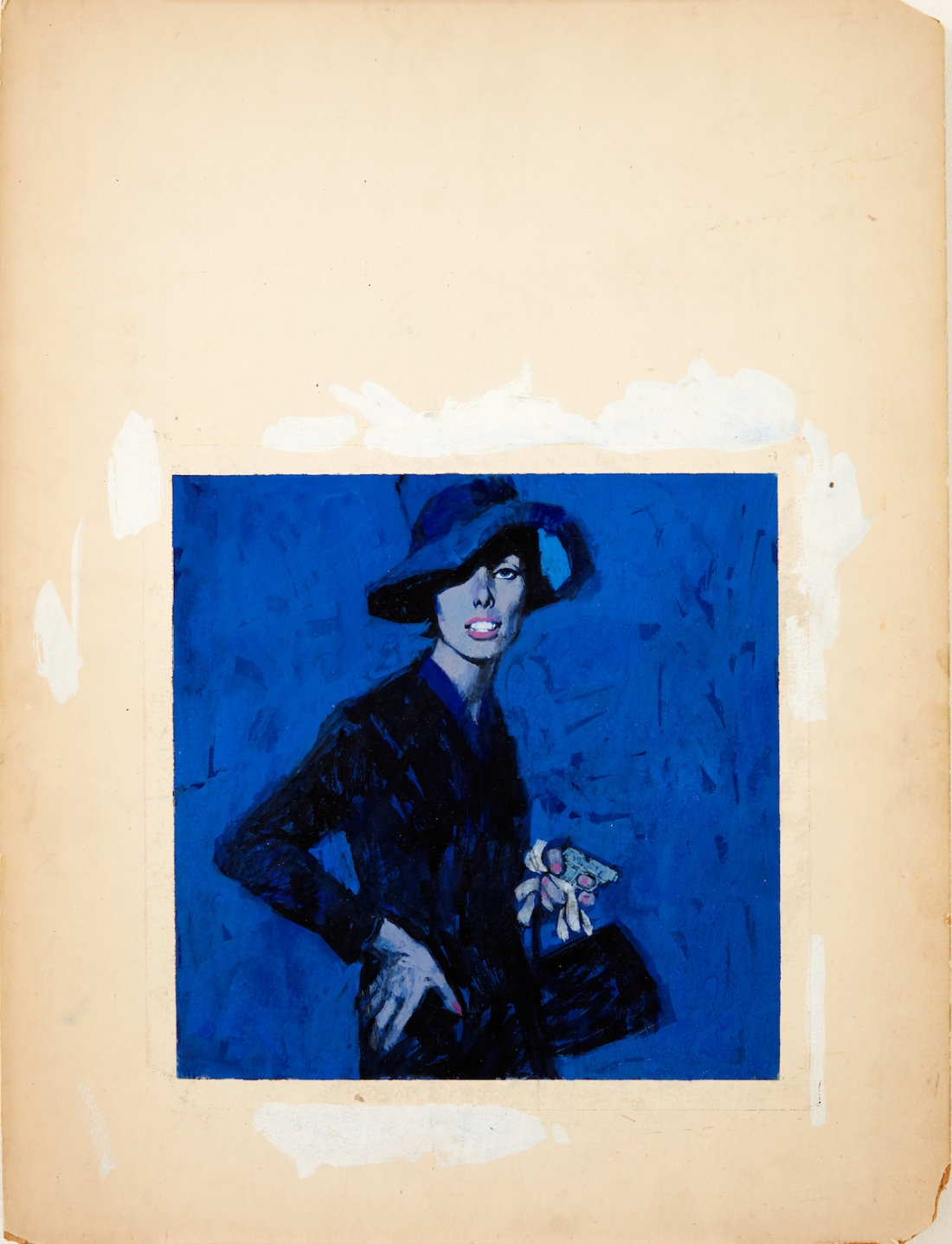 Renato Fratini, Lady in Blue, c 1960s, gouache on board, copyright Lever Gallery