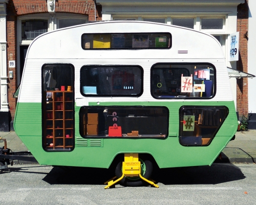 Pop-Up Caravan, Tas-ka, The Netherlands, 2014. Steel chassis, aluminium, rubber, corrugated steel, Plexiglas, chipboard. Picture credit: Hipaholic
