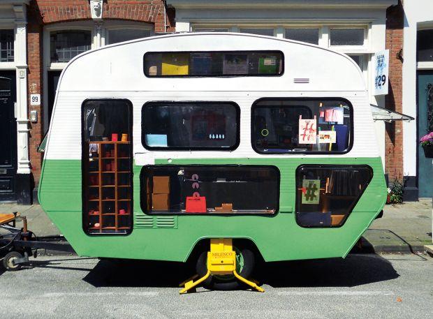 Pop-Up Caravan, Tas-ka, The Netherlands, 2014. Steel chassis, aluminium, rubber, corrugated steel, Plexiglas, chipboard. Picture credit: Hipaholic