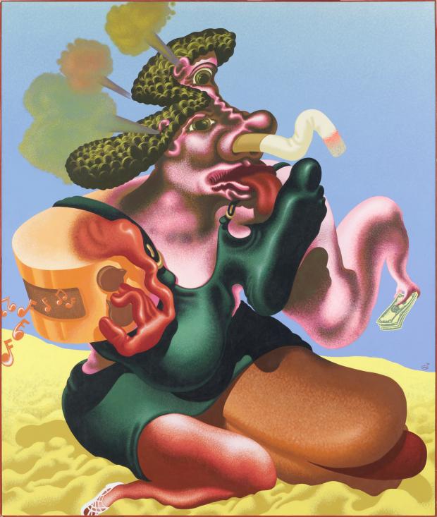Peter Saul, Woman Smoking, 1984, collection musée de l'Abbaye Sainte-Croix, les Sables d'Olonne, huile et acrylique sur toile, 216 x 192 cm ©Peter Saul; photo: Hugo Maertens. Via Creative Boom submission.