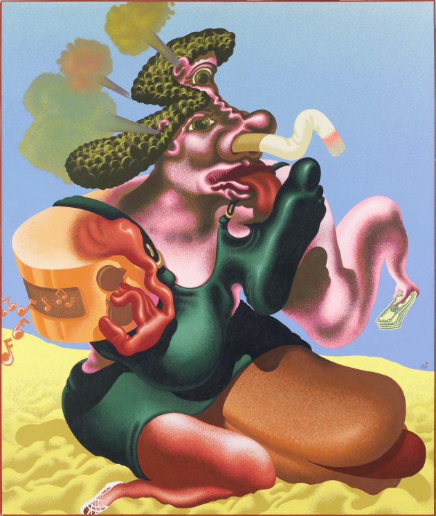 Peter Saul, Woman Smoking, 1984, collection musée de l'Abbaye Sainte-Croix, les Sables d'Olonne, huile et acrylique sur toile, 216 x 192 cm ©Peter Saul; photo: Hugo Maertens. Via Creative Boom submission.