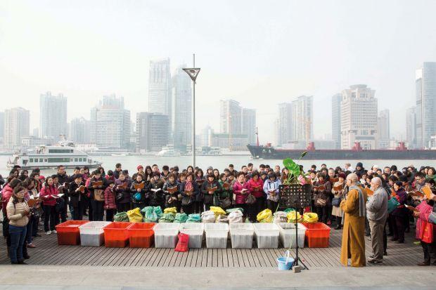 Fang Sheng gathering, Shanghai Ferry Port, 2015 © Liz Hingley. Via Creative Boom submission.