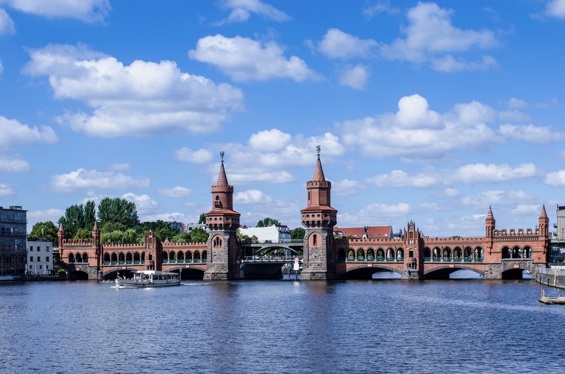 Berlin on the oberbaumbruecke in the most beautiful summer weather