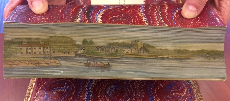 A two-way double fore-edge painting from The Book of The Thames (1859), slanted one way |  Photo courtesy of [The Swem Library](https://libraries.wm.edu/research/special-collections/books-periodicals/ralph-h-wark-collection)